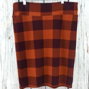 Lularoe Plaid Print Pencil Skirt